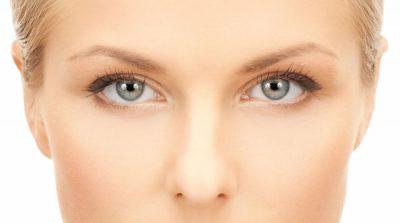 Face of beautiful woman having dry eyes